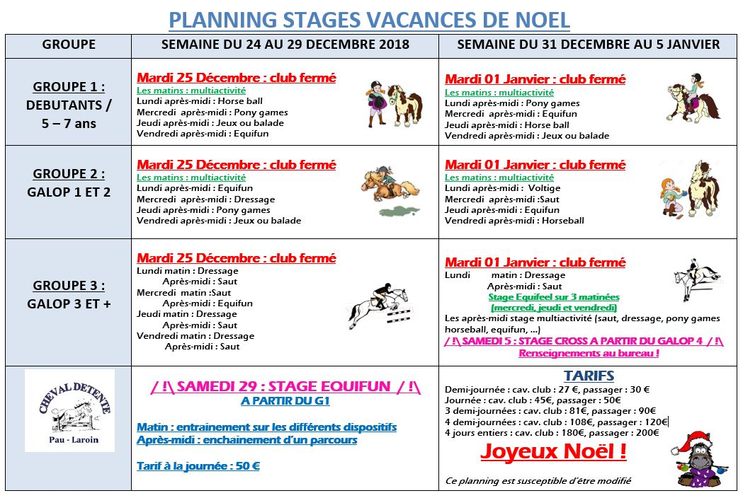 programme stages vacances